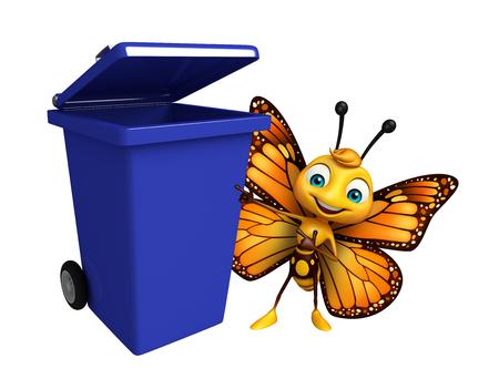 ゴミ箱に蝶の漫画のキャラクターの 3 d レンダリングされたイラストレーション 写真素材