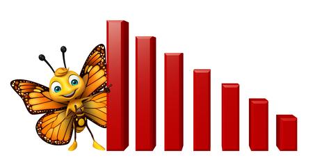 グラフと蝶の漫画のキャラクターの 3 d レンダリングされたイラストレーション