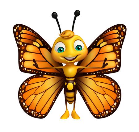 面白い蝶の漫画のキャラクターの 3 d レンダリングされたイラストレーション 写真素材 - 53166355