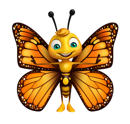 3d rendered illustration of funny Butterfly cartoon character