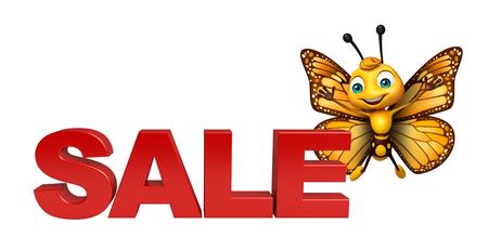 売却の記号と蝶の漫画のキャラクターの 3 d レンダリングされたイラストレーション 写真素材