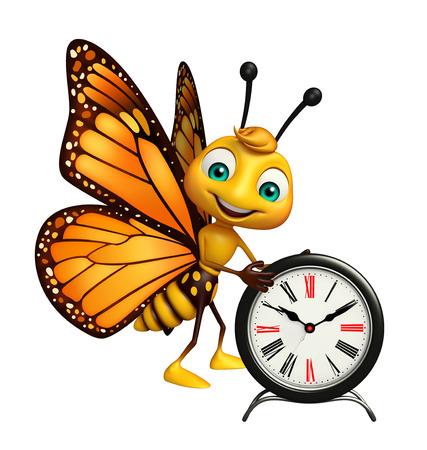 時計と蝶の漫画のキャラクターの 3 d レンダリングされたイラストレーション