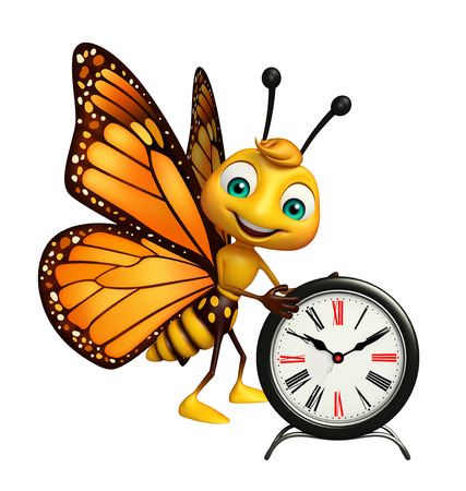 aerials: 3d rendered illustration of Butterfly cartoon character with clock