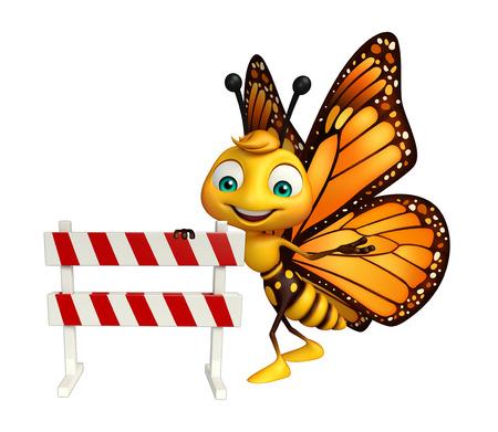 baracade と蝶の漫画のキャラクターの 3 d レンダリングされたイラストレーション