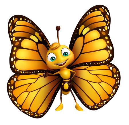 面白い蝶の漫画のキャラクターの 3 d レンダリングされたイラストレーション 写真素材 - 53166373