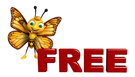 3d rendered illustration of Butterfly cartoon character with free sign Stok Fotoğraf
