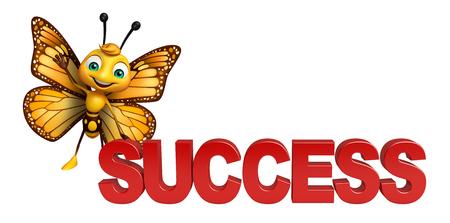 成功と蝶の漫画のキャラクターの 3 d レンダリングされたイラストレーション