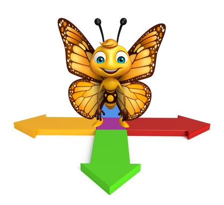 矢印と蝶の漫画のキャラクターの 3 d レンダリングされたイラストレーション
