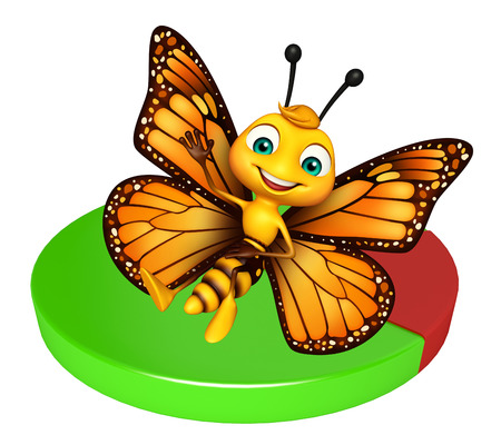 3d butterfly: 3d rendered illustration of Butterfly cartoon character with circle sign