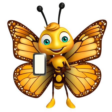 携帯電話で蝶の漫画のキャラクターの 3 d レンダリングされたイラストレーション 写真素材