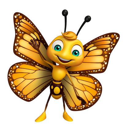 3d rendered illustration of Butterfly cartoon character Stok Fotoğraf