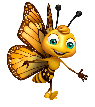 3d rendered illustration of Walking Butterfly cartoon character Stok Fotoğraf