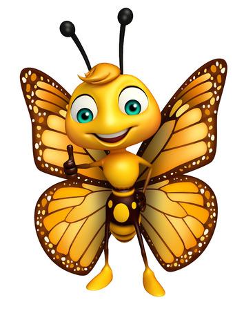 蝶の漫画のキャラクターの親指の 3 d レンダリングされたイラストレーション