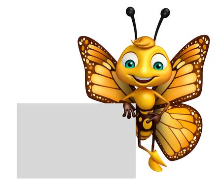 ボードの蝶アニメ キャラクターの 3 d レンダリングされたイラストレーション 写真素材