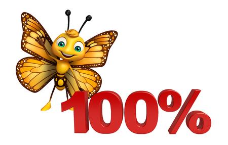 100% の署名と蝶の漫画のキャラクターの 3 d レンダリングされたイラストレーション