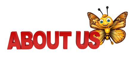 aerials: 3d rendered illustration of Butterfly cartoon character with about us sign Stock Photo
