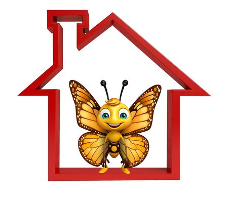 ホームサインと蝶の漫画のキャラクターの 3 d レンダリングされたイラストレーション