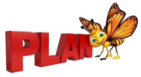 計画サインと蝶の漫画のキャラクターの 3 d レンダリングされたイラストレーション
