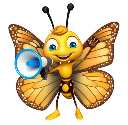ラウド スピーカーと蝶の漫画のキャラクターの 3 d レンダリングされたイラストレーション
