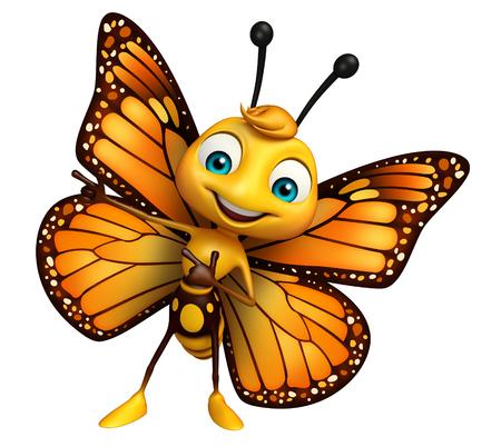 蝶の漫画のキャラクターを指しての 3 d レンダリングされたイラストレーション