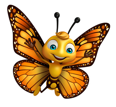 3d rendered illustration of Butterfly cartoon character Фото со стока