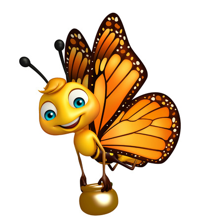 3d rendered illustration of Butterfly cartoon character with honey pot Фото со стока