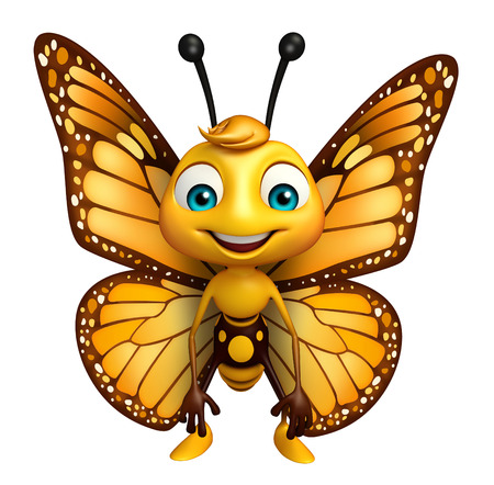 aerials: 3d rendered illustration of funny Butterfly cartoon character