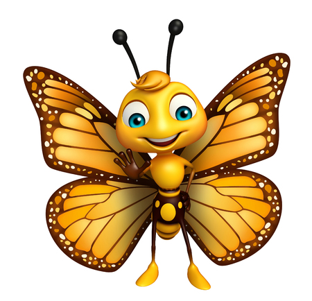 aerials: 3d rendered illustration of stop Butterfly cartoon character Stock Photo
