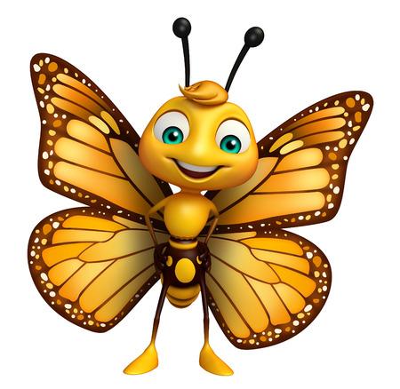 面白い蝶の漫画のキャラクターの 3 d レンダリングされたイラストレーション 写真素材 - 53166415