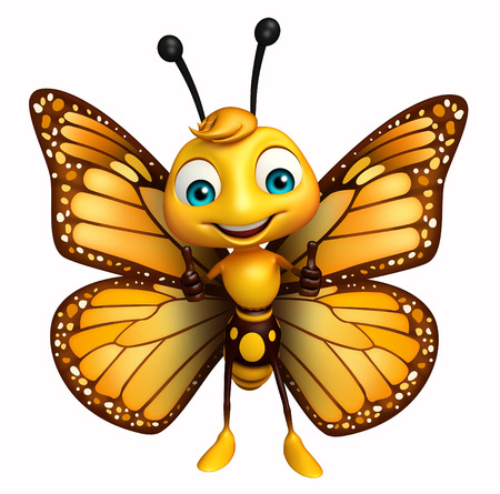 3d rendered illustration of  thumbs up Butterfly cartoon character