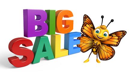 bigsale 記号で蝶の漫画のキャラクターの 3 d レンダリングされたイラストレーション