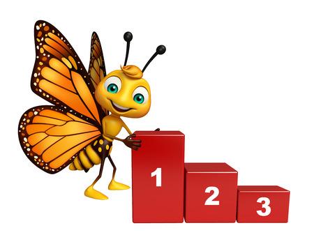 レベルと蝶の漫画のキャラクターの 3 d レンダリングされたイラストレーション 写真素材