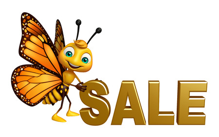 3d butterfly: 3d rendered illustration of Butterfly cartoon character with sale sign