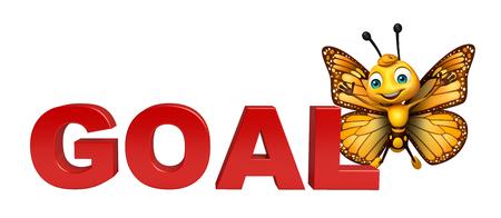 目標署名と蝶の漫画のキャラクターの 3 d レンダリングされたイラストレーション
