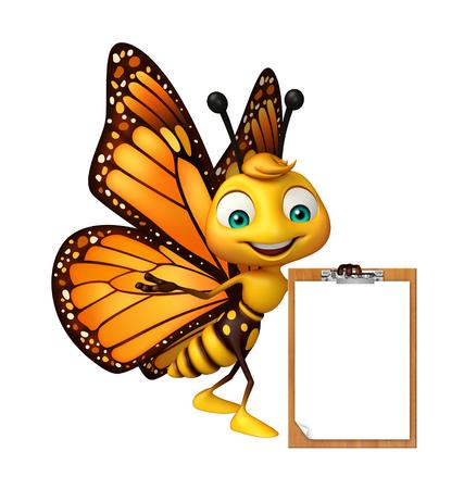 試験パッドで蝶の漫画のキャラクターの 3 d レンダリングされたイラストレーション