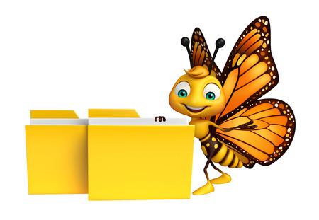 フォルダーと蝶の漫画のキャラクターの 3 d レンダリングされたイラストレーション