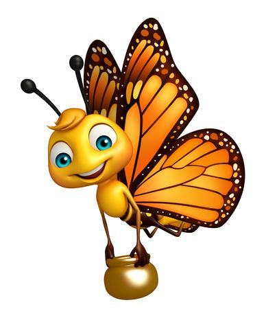 ハニーポットと蝶の漫画のキャラクターの 3 d レンダリングされたイラストレーション 写真素材 - 53166457