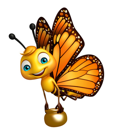 3d rendered illustration of Butterfly cartoon character with honey pot Stok Fotoğraf