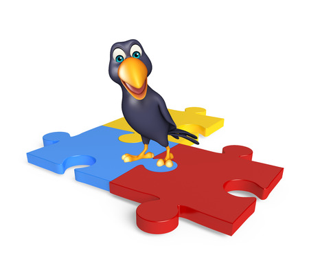 jig saw puzzle: 3d rendered illustration of Crow cartoon character with puzzle