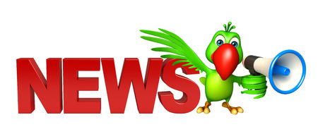 loud speaker: 3d rendered illustration of Parrot cartoon character with loud speaker and news sign