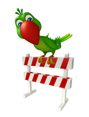zoo traffic: 3d rendered illustration of Parrot cartoon character with   baracade