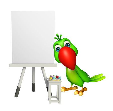 painter cartoon: 3d rendered illustration of Parrot cartoon character with easel sign