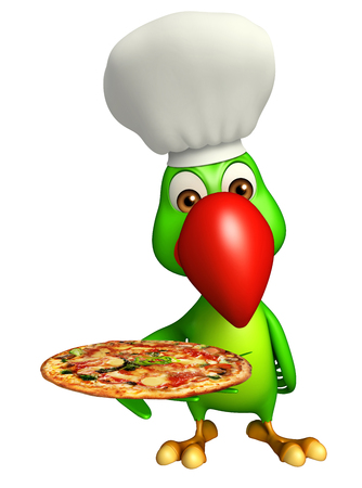 3d pizza: 3d rendered illustration of Parrot cartoon character with pizza and chef hat