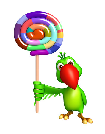 lollypop: 3d rendered illustration of Parrot cartoon character with lollypop