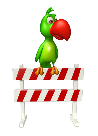 security lights: 3d rendered illustration of Parrot cartoon character with   baracade