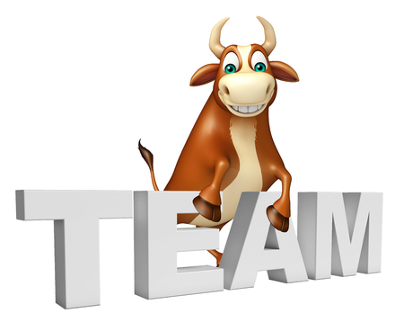 collective: 3d rendered illustration of Bull cartoon character with team