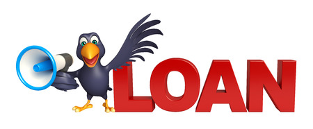talking cartoon: 3d rendered illustration of Crow cartoon character with loud speaker and loan sign