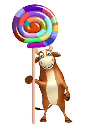 flesh eating animal: 3d rendered illustration of Bull cartoon character with lollypop