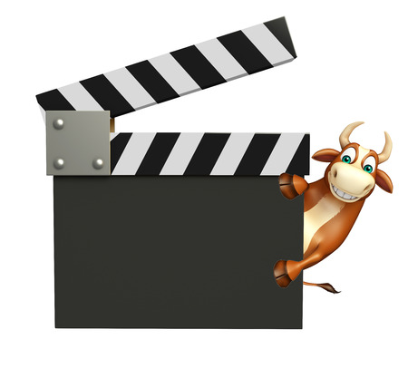 clapper board: 3d rendered illustration of Bull cartoon character with clapper board