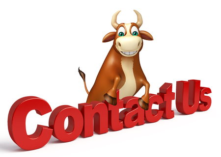 3d contact us: 3d rendered illustration of Bull cartoon character with contact us sign